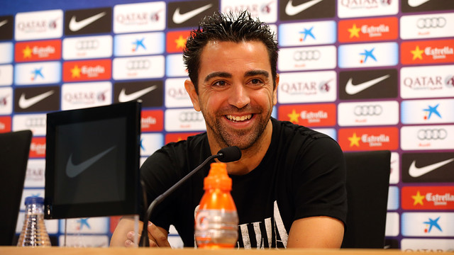 Xavi in his press conference. PHOTO: MIGUEL RUIZ-FCB.
