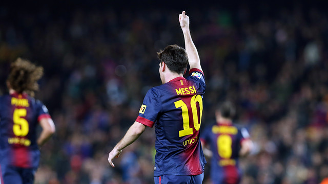 Messi celebrates one of his many goals in the 2012/13 season / PHOTO: ARXIU FCB