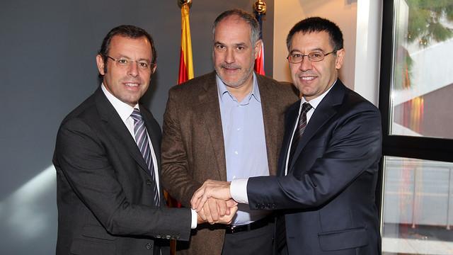 Andoni Zubizarreta, Sandro Rosell and Josep Maria Bartomeu / PHOTO: MIGUEL RUIZ - FCB