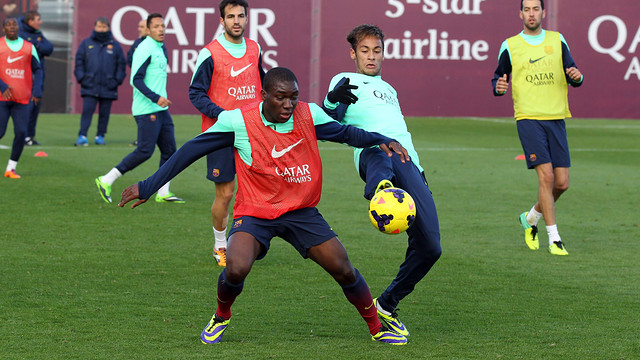 Dongou and Neymar Jr during training on Thursday/ PHOTO: MIGUEL RUIZ-FCB