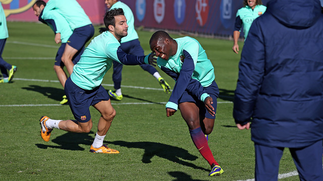 Cesc and Dongou, at this Friday's training / PHOTO: MIGUEL RUIZ - FCB