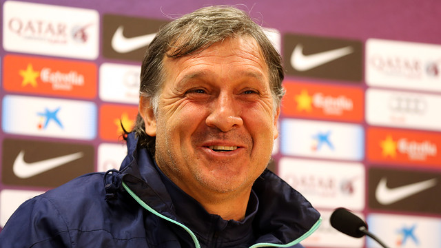 Gerardo Martino, expressive during the press conference.  PHOTO: MIGUEL RUIZ - FCB