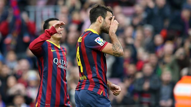 Cesc foi o autor do gol 2.500 do Barça na Liga como equipe local.
