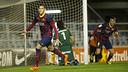 """Tonny Sanabria celebrates Barça""""s opening goal / PHOTO: VÍCTOR LOZANO-FCB"""
