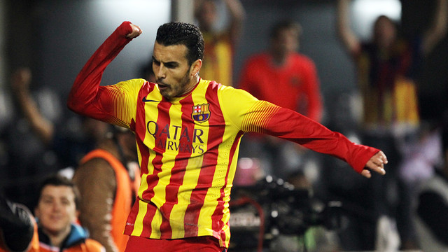 Pedro jumps for joy after scoring against Cartagena