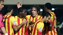 Dongou is congratulated on scoring by his team mates / PHOTO: MIGUEL RUIZ - FCB