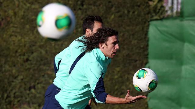 Captain Carles Puyol at last Thursday's training session / PHOTO: MIGUEL RUIZ - FCB