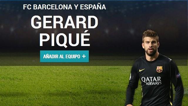 Fotomuntatge de Piqué a la web de la UEFA per votar-lo