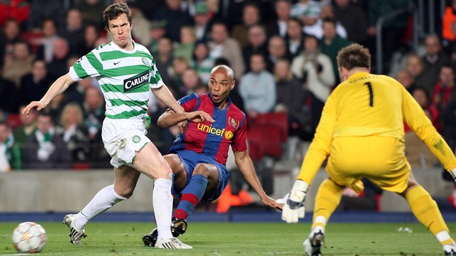 Thierry Henry lors d'un match au Camp Nou face au Celtic