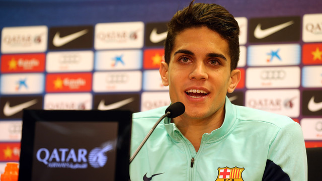 Marc Bartra smiling during this Monday's press conference