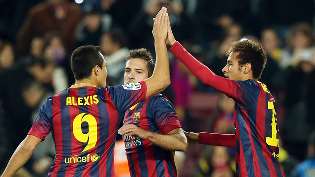 Alexis and Neymar celebrate a goal at the Camp Nou
