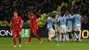 Manchester City celebrate Kompany's goal / PHOTO: Twitter Manchester City