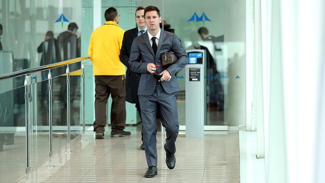 Leo Messi, a l'aeroport de Barcelona / FOTO: MIGUEL RUIZ - FCB