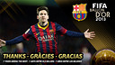 Leo Messi finishes second in the FIFA Ballon d'Or 2013