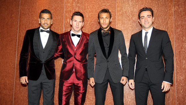 Alves, Messi, Neymar and Xavi, before the ceremony / PHOTO: MIGUEL RUIZ-FCB
