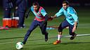 Alexis et Montoya, à l'entrainement. PHOTO: MIGUEL RUIZ-FCB.
