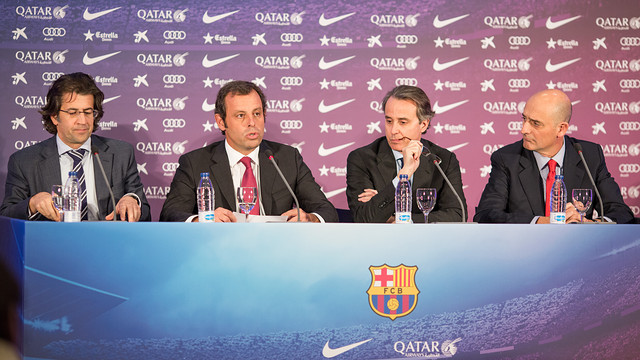 Freixa, Rosell, Faus and Moix at the press conference