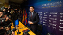 Josep Maria Bartomeu at this evening's press conference / PHOTO: GERMÁN PARGA - FCB