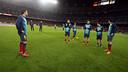 Xavi, durant l'homenatge / FOTO: MIGUEL RUIZ-FCB