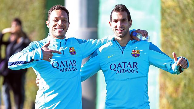 Adriano and Montoya, at training. PHOTO: MIGUEL RUIZ-FCB.