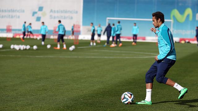 Neymar on a training pitch