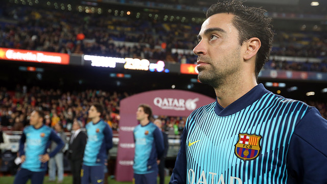 Tribute to Xavi at the Camp Nou for playing 700 games for FC Barcelona / PHOTO: MIGUEL RUIZ - FCB