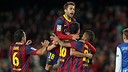 Players celebrate Sergio Busquets' goal against Real Sociedad / PHOTO: MIGUEL RUIZ - FCB