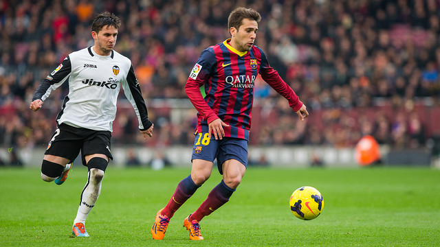 Jordi Alba was booked twice against Valencia. PHOTO: MIGUEL RUIZ-FCB.
