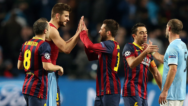 The players, well satisfied after the game/ PHOTO: MIGUEL RUIZ-FCB