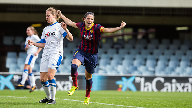 Vicky Losada celebrates a goal in the 3-0 win over Zurich Frauen in the Champions League