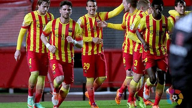El Barça B celebra el primer gol ante el Mallorca en su victoria ante el Mallorca (1-2)