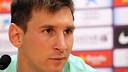 Leo Messi, at a press conference / PHOTO: ARXIU FCB