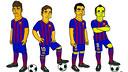D'esquerre a dreta, Neymar, Messi, Xavi i Iniesta en format 'Simpson'