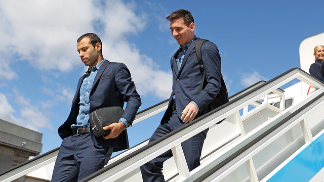 Messi and Mascherano were among the players on the flight / PHOTO: ARXIU FCB