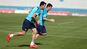 Busquets and Messi trained on Friday morning / PHOTO: MIGUEL RUIZ-FCB