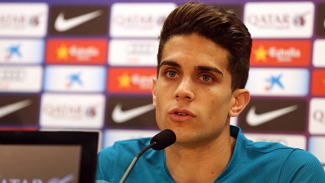 Bartra at today's press conference. PHOTO: MIGUEL RUIZ - FCB