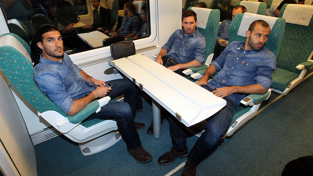 Travelling to Vilarreal. PHOTO: MIGUEL RUIZ-FCB.