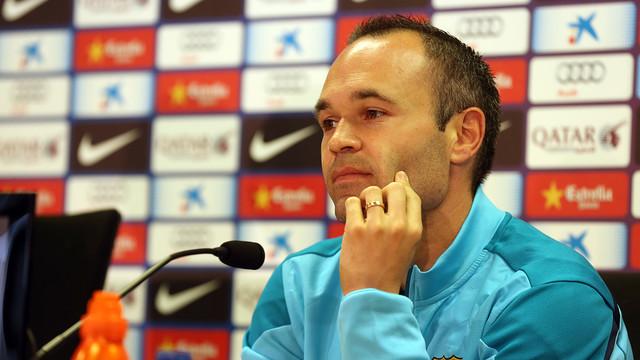 Andrés Iniesta, a la sala de premsa de la Ciutat Esportiva