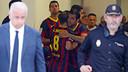 Iniesta i Cesc, abans de sortir al Martínez Valero / FOTO: MIGUEL RUIZ - FCB