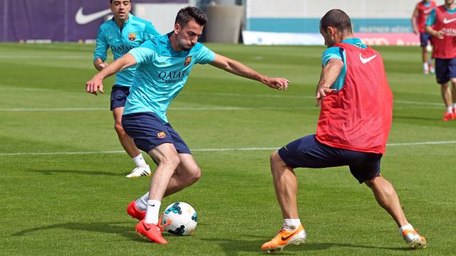 Isaac Cuenca, durante un entrenamiento en la Ciutat Esportiva