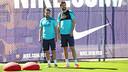 Piqué et Jordi Alba ce matin / PHOTO: MIGUEL RUIZ - FCB