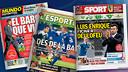 The Mundo Deportivo, L'Esportiu and Sport front covers