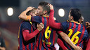 Barça celebrating Illie's third goal against Girona/ PHOTO: MIGUEL RUIZ-FCB