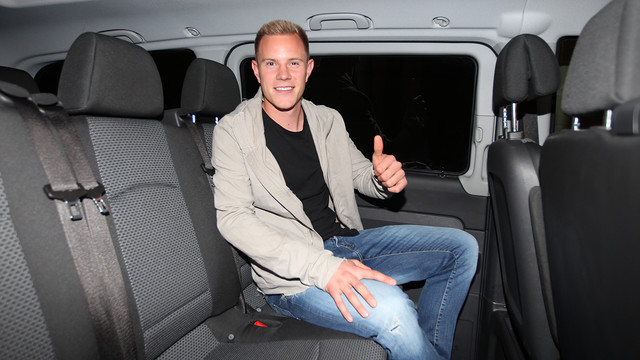 Ter Stegen sitting on the plane.
