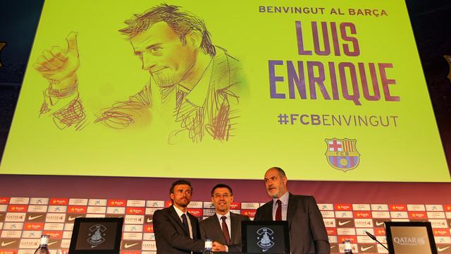 Luis Enrique, Zubizarreta and Bartomeu at the presentation of the new manager / PHOTO: MIGUEL RUIZ-FCB