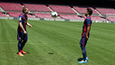 Deulofeu and Rafinha on the pitch of the Camp Nou / PHOTO: MIGUEL RUIZ-FCB