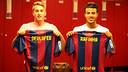 Deulofeu and Rafinha back in the Barça dressing room / PHOTO: MIGUEL RUIZ-FCB