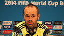 Iniesta at a press conference for Spain / PHOTO: Lucas Duarte - FCB