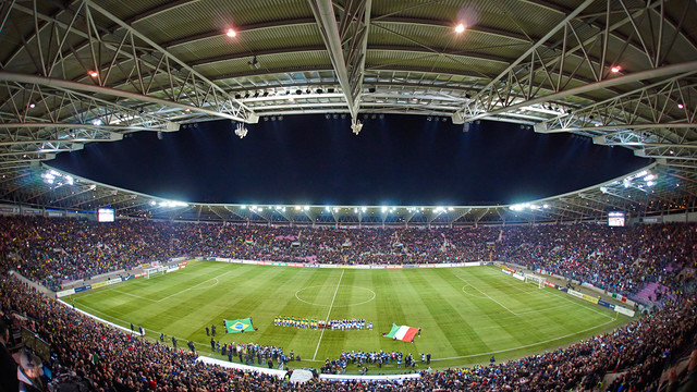 A view of the Stade de Genève where the game will take place