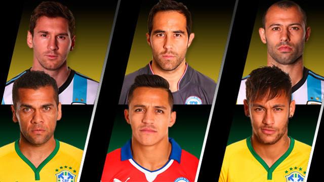 De izquierda a derecha y de arriba abajo: Messi, Claudio Bravo, Mascherano, Alves, Alexis y Neymar Jr